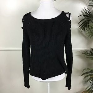 Express Black Cold Shoulder Lace Up Sweater XS
